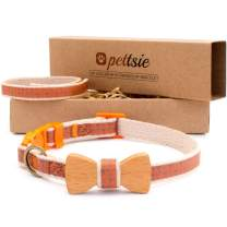 Pettsie Breakaway Cat Collar Bowtie and Friendship Bracelet, Gift Box Included, Durable 100% Cotton, D-Ring for Accessories, Light Weight, Comfortable, Soft, Adjustable Size 8-11 Inch