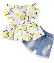 ToddlerBaby Girl Denim Short SetSummer Ruffle Sleeve Tops Denim Pants Shredded Jeans Outfit