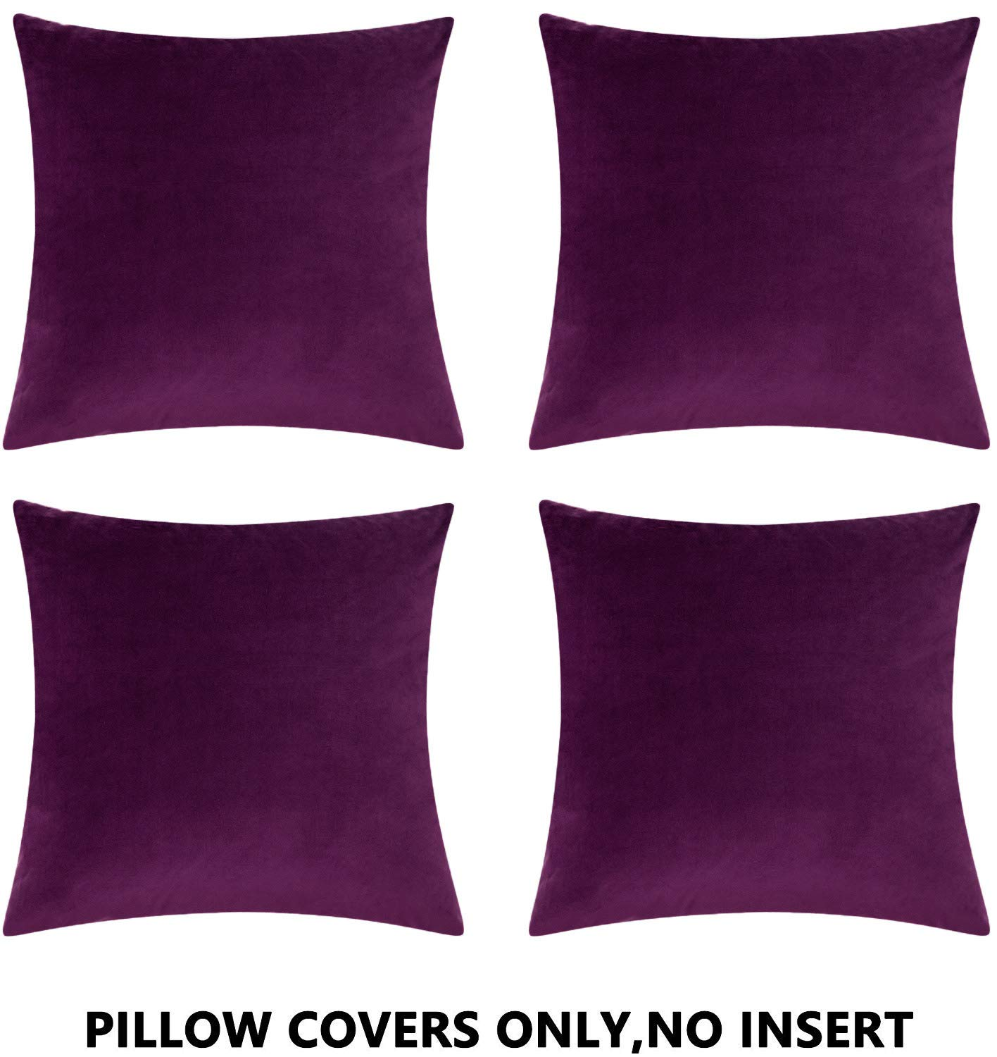 COMFORTLAND 20 x 20 Decorative Pillow Covers Pack of 4 Solid Soft Velvet Square Throw Pillow Cases Set Accent Pillowcases Euro Cushion Covers for Farmhouse Indoor Bedroom Sofa Couch Bed Kids,Eggplant