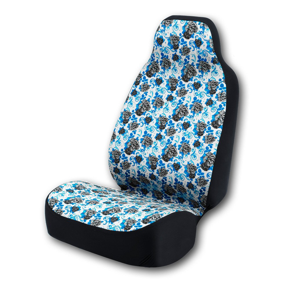 Coverking Universal Fit 50/50 Bucket Flower Fashion Print Black Roses Universal Fit 50/50 Bucket Seat Cover - Roses (Black Roses with Blue Background)
