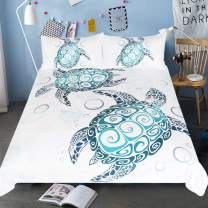 Sleepwish Turtle Bedding Royal Aqua Blue Turtles Duvet Cover 3 Piece Abstract Tortoise Bed Covers Underwater Children Bed Set (Full)