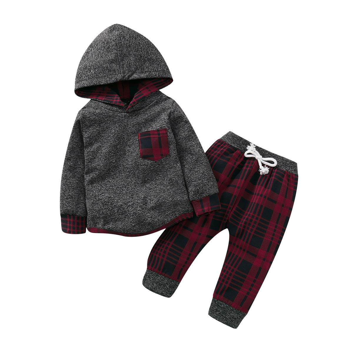 Toddler Infant Baby Boys Girls Plaid Hoodie Sweatshirt Tops+Pants Winter Fall Clothes Outfit Set 0-3Y