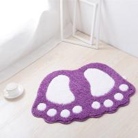 "JIAN YA NA Non Slip Bath Toilet Mat Cute Big Feet Bathroom Shower Rugs Shaggy Carpet Absorbent Doormat Floor Mat Living Room Sofa Cushion Foot Pad Rug (16""x24""(40x60CM), Purple)"
