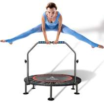 arteesol Mini Trampoline 40-inch Rebounder Indoor Foldable Noiseless Small Trampoline with Safety Pad, Adjustable Foam Handle for Kids Adults Outdoor Exercise Fitness Trampoline