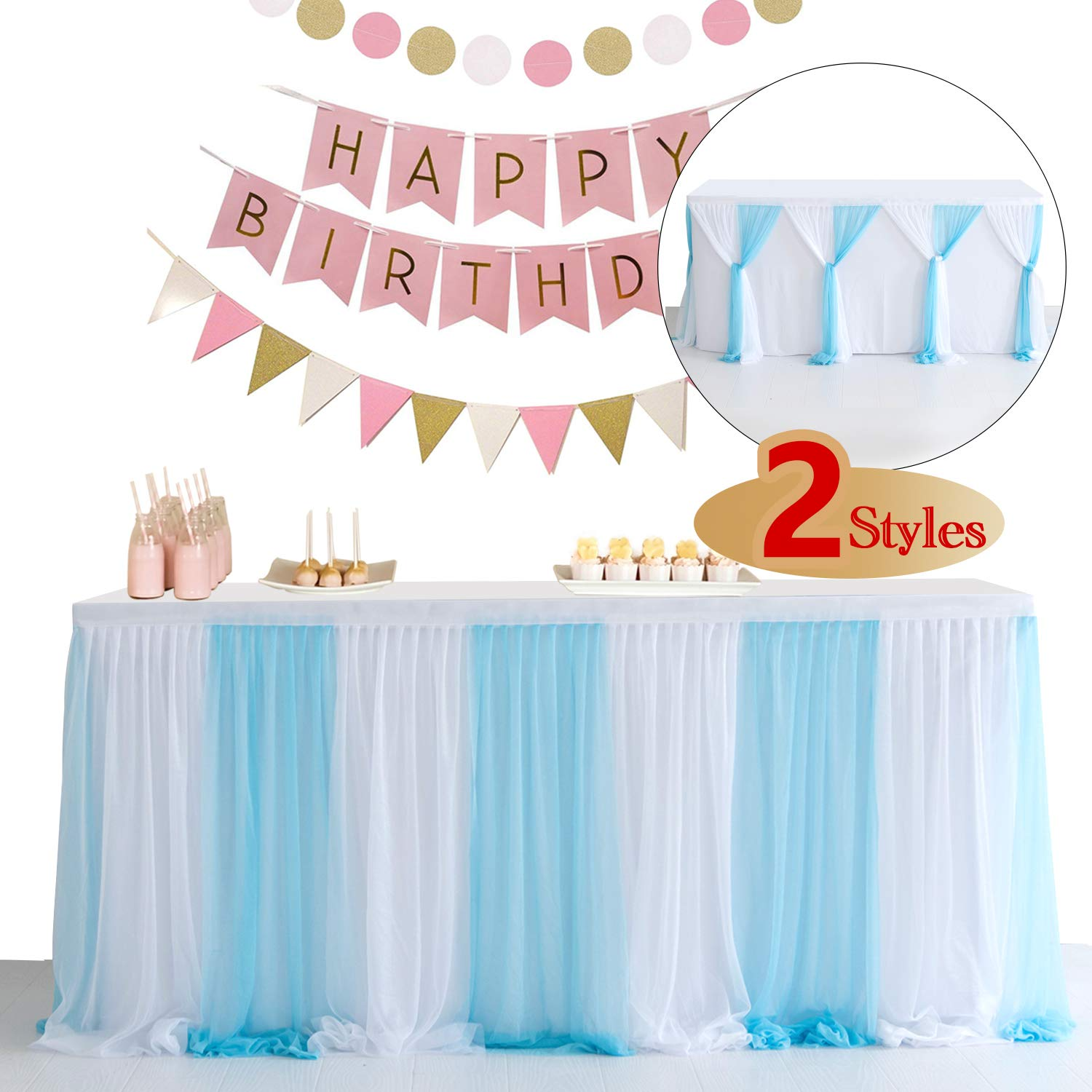 NSSONBEN 6FT Blue White Tulle Table Skirt for Party Tables Stretch Yarn Pleated Tutu Table Skirt for Baby Shower (L72in×H30in)