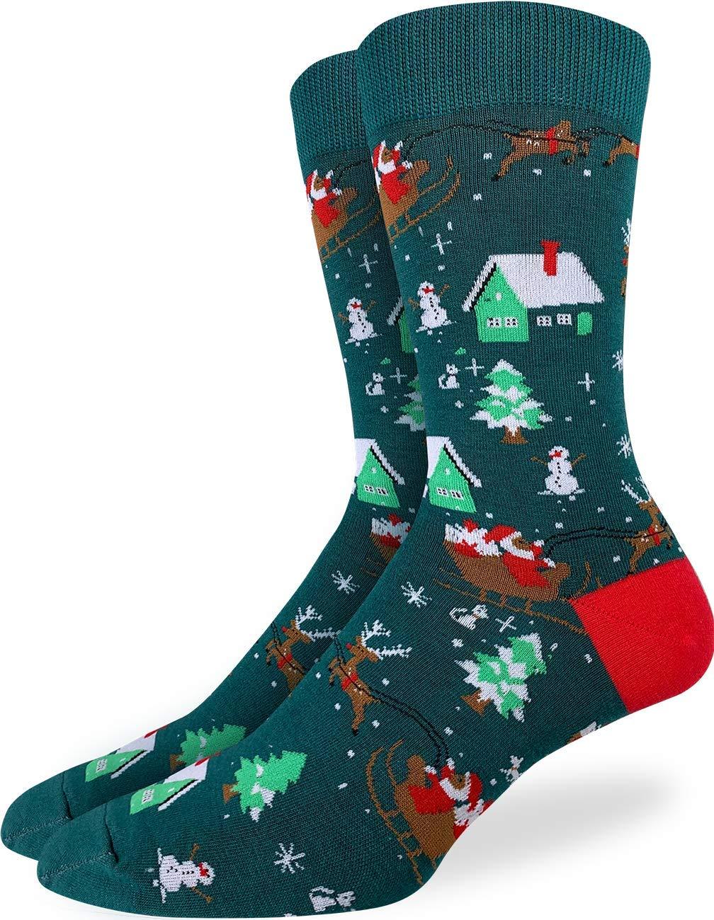 Good Luck Sock Men's Santa on a Sled Christmas Socks - Green, Shoe Size 7-12