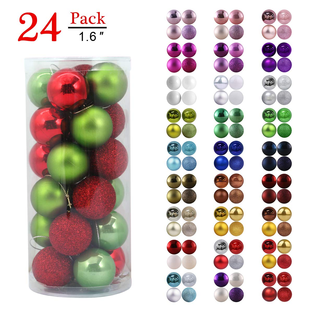 "Christmas Balls Ornaments for Xmas Tree - Shatterproof Christmas Tree Decorations Perfect Hanging Ball Red & Green 1.6"" x 24 Pack"