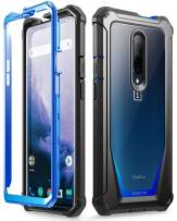 Poetic OnePlus 7 Pro Rugged Clear Case, Full-Body Hybrid Shockproof Bumper Cover, Built-in-Screen Protector, Guardian Series, Case for OnePlus 7 Pro (2019 Release), Blue/Clear