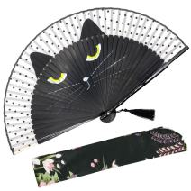 "OMyTea""Sexy Cat"" Folding Hand Held Fan for Women - with a Fabric Sleeve for Protection - Chinese/Japanese Vintage Retro Style for Wedding, Dancing, Church, Party, Gifts (Black)"