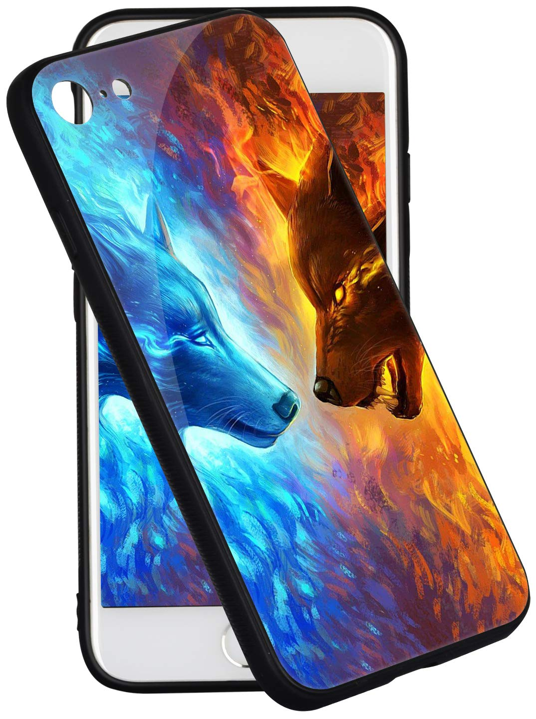iPhone 8 Case iPhone 7 Case Pricetail Anti-Drop TPU Bumper Hard PC Scratch-Proof Tempered Glass Protector Cover Fit iPhone 8 Cases iPhone 7 Cases for Girls Boys Ice Wolf VS Fire Wolf
