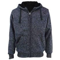 Facitisu Heavyweight Sherpa Lined Fleece Hoodie Sweatshirts for Men Winter Full Zip Plus Size Long Sleeve Jacket