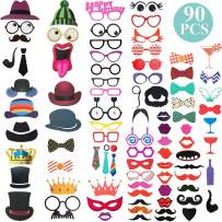 Photo Booth Props Kit - 90pcs DIY Photobooth Prop Funny Selfie Accessories Decoration Supplies Costume Mustache Hat Glasses Tie for Birthdays Wedding Holiday Party 2020 New Years