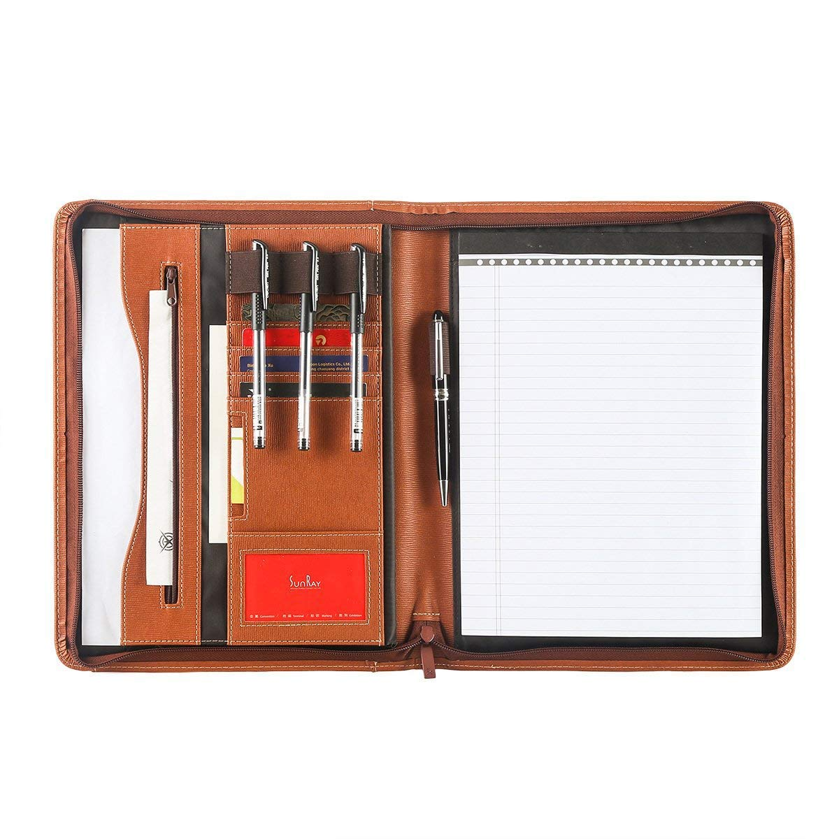 Leathario Portfolio A4 File Folder Padfolio Writing Pad Business Presentation Folder PU Black (brown-34)