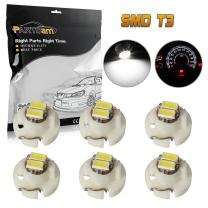 Partsam T3 Neo Wedge LED Light Bulbs A/C Climate Heater Control Lamps Gauge Cluster Instrument Dashboard Bulbs White 6PCS