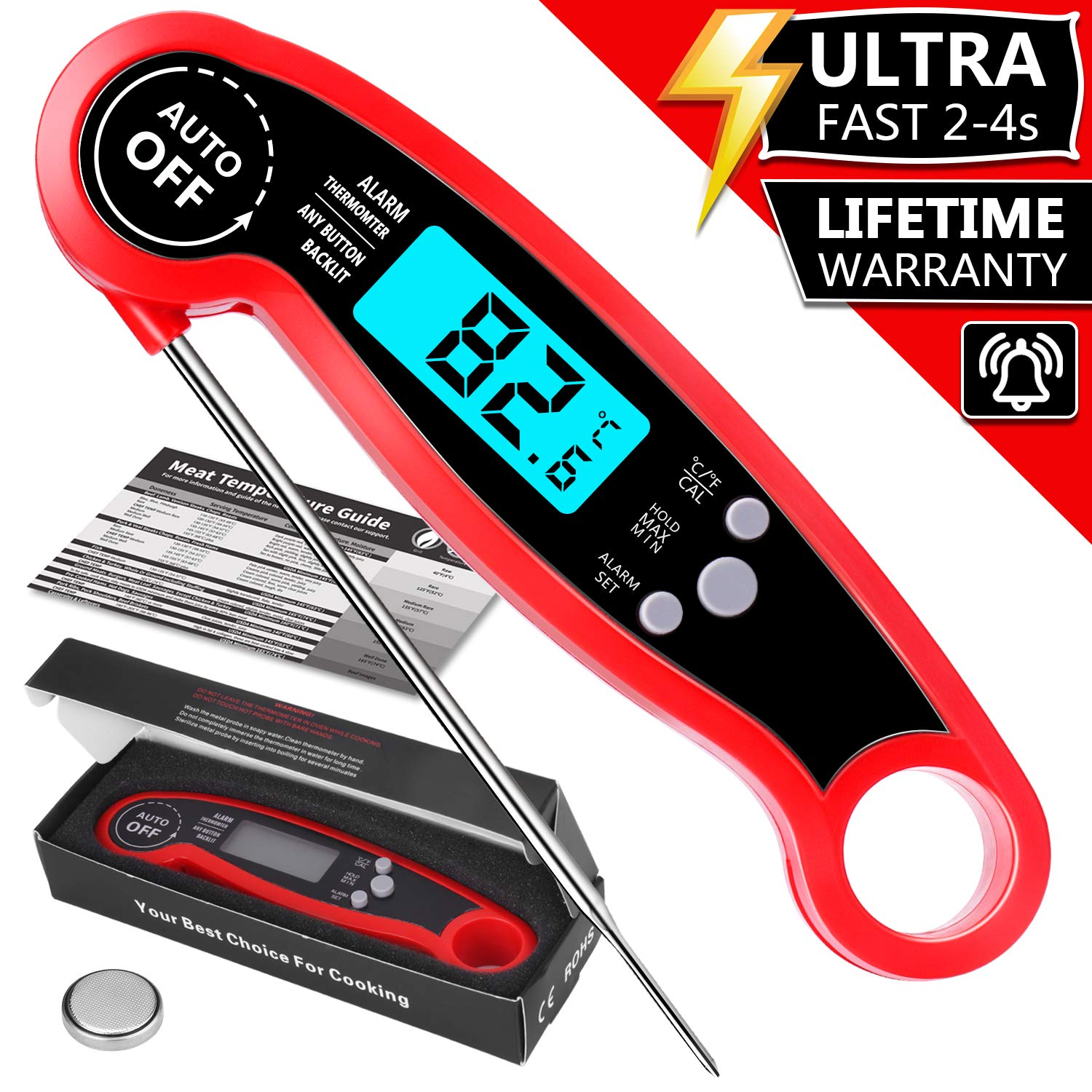 Meat Thermometer Instant Read for Grilling, PEMOTech Waterproof Digital Kitchen Thermometer with Backlight & Calibration, Instant Read Food Thermometer for Grill, Outdoor Cooking, BBQ and Kitchen.