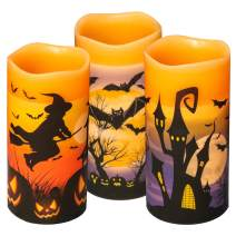 Eldnacele Halloween Flameless Flickering LED Candles with 6-Hour Timer, Battery Operated Wax Candles Assorted Decals Witch, Bats, Castle Set of 3 for Decoration
