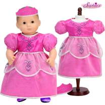 Baby Doll Princess Costume with Crown | Hot Pink Princess Gown and Tiara for 15 Inch Baby Dolls