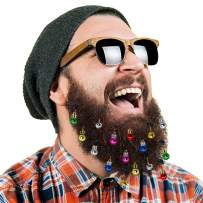 DecoTiny 16pcs Beard Ornaments. 4 Sounding Jingle Bells and 12 Colors of Christmas Baubles Great Gift Idea! (4 Bell+12 Baubles)