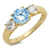1.47ct Brilliant Round Cut Solitaire three stone Aquamarine Blue Simulated Diamond CZ VVS1 Designer Modern Statement Ring Real Solid 14k Yellow Gold Clara Pucci