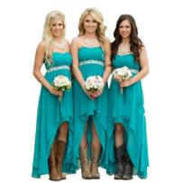 Fanciest Women' Strapless High Low Bridesmaid Dresses Wedding Party Gowns Turquoise US20W