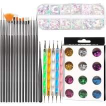 15 pcs Nail Art Brushes, 5 pcs Nail Dotting Pen, 12 Boxes Chunky Glitter, 12 Boxes Holographic Nail Art Sequins Kit, FANDAMEI Nail Art Decoration Tools kit