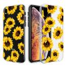Caka Clear Floral Case Compatible for iPhone Xs Max Flower Pattern Case Slim Girly Anti Scratch Excellent Grip Premium Clarity Soft TPU Crystal Case Replacement for iPhone Xs Max (Sunflower)