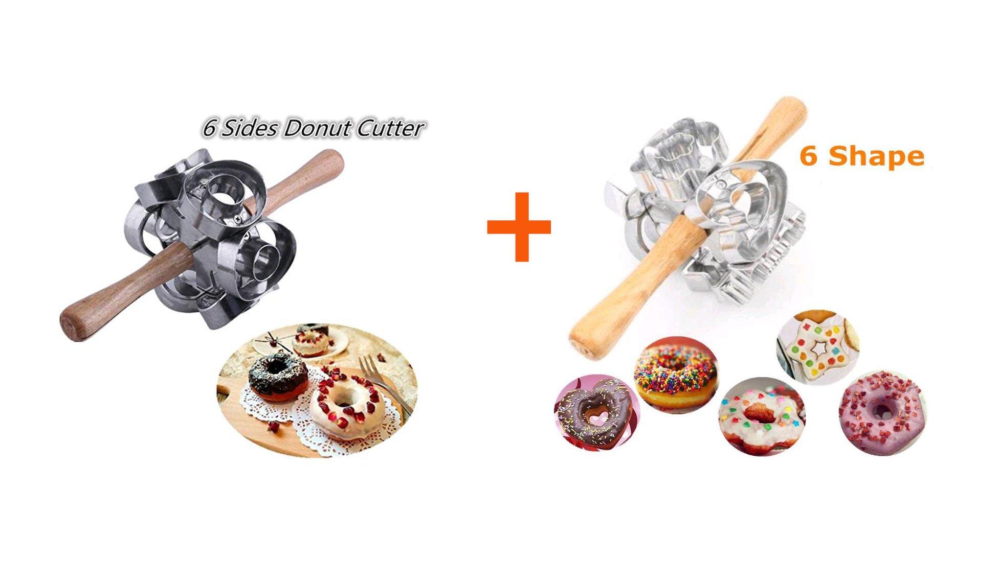 FCOZM 2 set Metal Revolving Donut Cutter Maker Machine Mold Pastry Dough Baking Roller For Cooking Baking