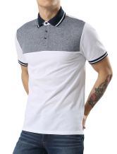 uxcell Men Casual Summer Regular Fit Colorblock Panel Short Sleeve Golf Button Polo Shirts