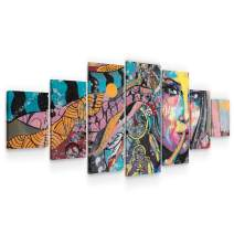 Startonight Large Canvas Wall Art Abstract - The Painted Indian Girl - Huge Framed Modern Set of 7 Panels 40 x 95 Inches