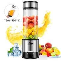 GOLDFOX Portable Blender, USB Rechargeable Personal Blender for Shakes and Smoothies, 15oz Detachable Portable Juicer Cup Small Fruit Juice Mixer for Travel, Gym, Office etc. FDA BPA Free (with Brush)