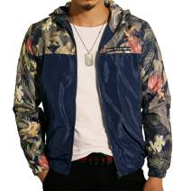 LOGEEYAR Men's Windbreaker Jacket with Hood,Lightweight Bomber Jacket for Men with Floral Print and Front Zipper