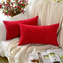 MERNETTE New Year/Christmas Decorations Cotton Linen Blend Decorative Rectangle Throw Pillow Cover Cushion Covers Pillowcase, Home Decor for Party/Xmas 12x20 Inch/30x50 cm, Red, Set of 2