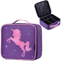 Stagiant Unicorn Makeup Bag Gift for Girl Travel Cosmetic Storage Makeup Train Case with Adjustable Dividers Portable Jewelry Accessories Organizer - Purple
