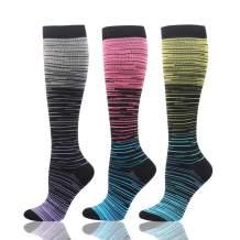HLTPRO Compression Socks for Women & Men Circulation - 3 Pack Knee High Socks for Nurses, Running, Travel, Pregnancy