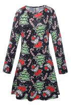 Pink Queen Women's Ugly Printed Christmas A Line Flared Skater Dress
