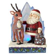 "Enesco Rudolph The Red Nosed Reindeer by Jim Shore Santa with Iceberg Lit Figurine, 6.2"", Multicolor"