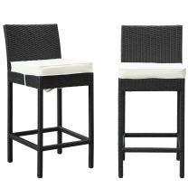 Modway Lift Wicker Rattan Outdoor Patio Two Bar Stools with Cushions in Espresso White