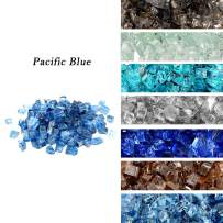 """Skyflame High Luster 10-Pound Regular Fire Glass for Fire Pit Fireplace Garden Landscaping Pacific Blue 1/2"""" Size"""