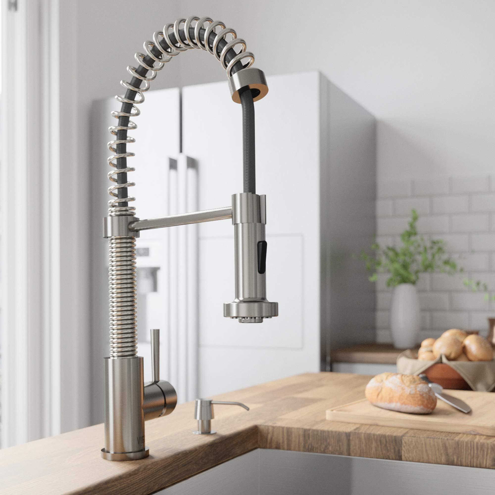 VIGO VG02001ST Edison Brass Single Handle Pull Down Sprayer Kitchen Sink Faucet, Centerset Single Hole Faucet, Swivel Head Design, Plated Stainless Steel Finish