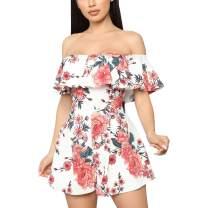 ThusFar Women's Summer Casual Jumpsuit Off Shoulder Beach Jumpsuits Short Sleeve Floral Print Romper