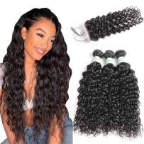 Water Wave Bundles with Closure Brazilian Wet and Wavy Human Hair 3 Bundles with 4×4 Middle Part Lace Closure Bleached Knots Baby Hair No Shedding (8 10 12 with 8, natural black)