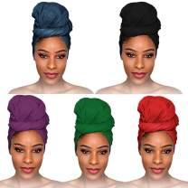fani 5 Pieces Stretch Jersey Head Wrap Stretchy Knit Turban Headwraps Urban Hair Scarf Solid Color Extra Long Hair Scarf African Head Wrap Head Band Breathable Soft Turban Tie for Women