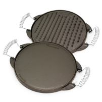 Victoria GDL-155 Round Cast Iron Gril. Double Burner Griddle, with Wire Handles Seasoned with 100% Kosher Certified Non-GMO Flaxseed Oil, 10 Inch, Black