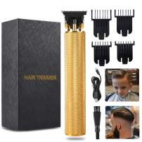 Cordless Hair Trimmer for Men, Electric Professional Zero Gapped Outliner Clippers, Hair Outliner Clippers, T-Blade Outlining Hair Clipper,Trimmers for Barbers with 4 Limit Combs, Gold