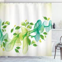 """Ambesonne Abstract Shower Curtain, Floral Design with Water Touch Inspired Modern Details Artwork, Cloth Fabric Bathroom Decor Set with Hooks, 75"""" Long, Yellow Green"""