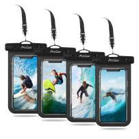 """Procase Universal Cellphone Waterproof Pouch Dry Bag Underwater Case for iPhone 11 Pro Max Xs Max XR X 8 7 6S+ SE 2020, Galaxy S20 Ultra S10 S9 S8/Note10+ 9 up to 6.9"""" - 4 Pack, Black"""