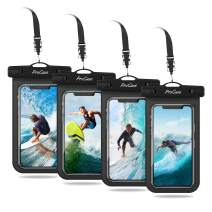 "Procase Universal Cellphone Waterproof Pouch Dry Bag Underwater Case for iPhone 11 Pro Max Xs Max XR X 8 7 6S+ SE 2020, Galaxy S20 Ultra S10 S9 S8/Note10+ 9 up to 6.9"" - 4 Pack, Black"