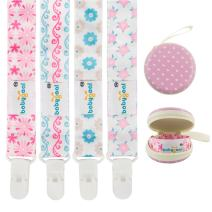 Babygoal Baby Girl Pacifier Clips, 4 Pack Plastic Teething Clips Fits All Pacifier Styles with Pacifier Case 4PS08-HZ