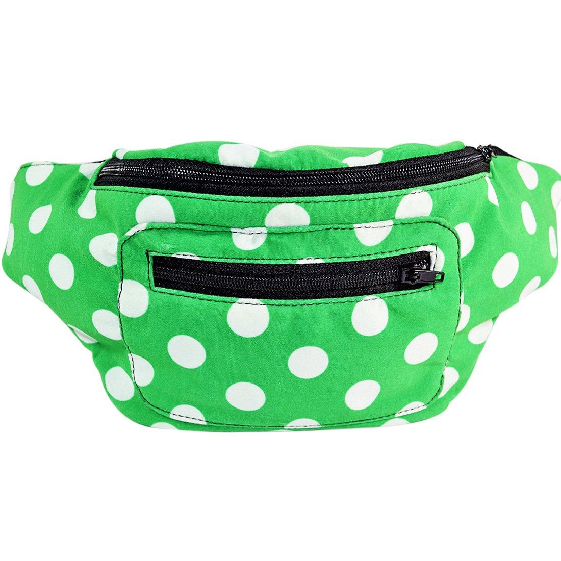 Polka Dot Fanny Pack, Hidden Pocket, Party, Boho Chic & Handmade (Polka Dot Green)