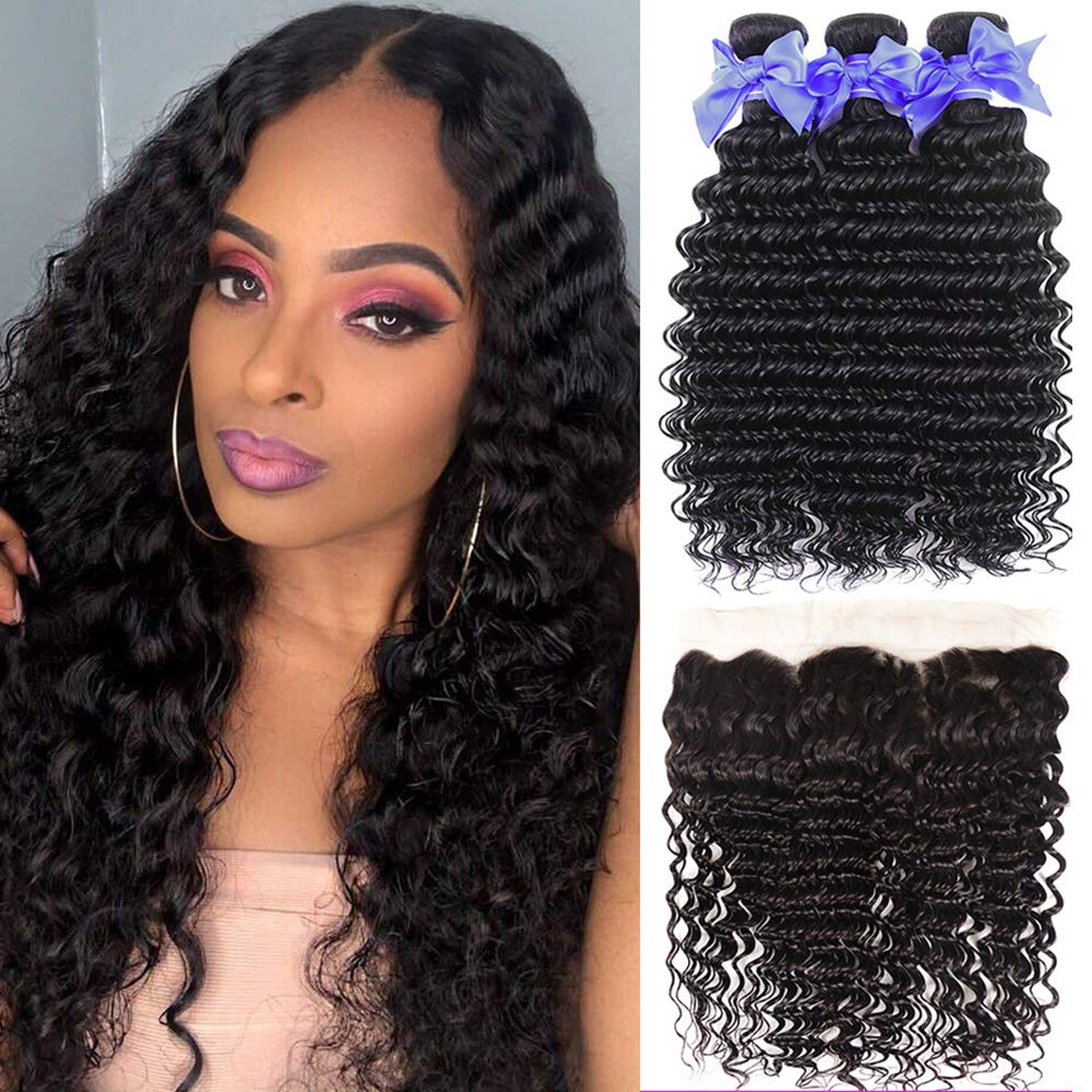 Brazilian Deep Wave Human Hair Bundles With 13x4 Ear to Ear Lace Frontal Free Part Deep Curly 3 Bundles Pre Plucked Natural Hairline With Baby Hair Wet And Wavy Deep Curly Human Hair(18 20 22+16)
